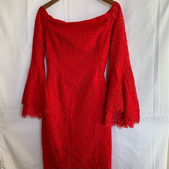 Bardot Red Lace Cocktail Dress with Bell Sleeves